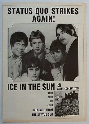 STATUS QUO 1968 Poster Ad ICE IN THE SUN messages from the status quo