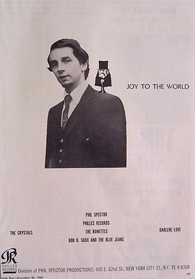 PHIL SPECTOR 1963 Poster Ad JOY TO THE WORLD ronettes crystals darlene love