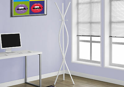 Monarch Specialties I-2050 Coat Rack - 72 Inchh / White Metal Contemporary Style
