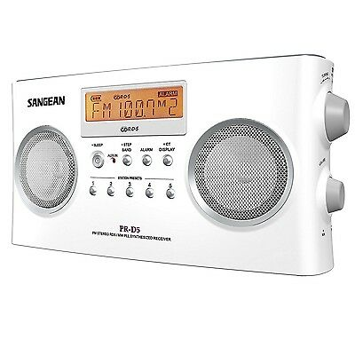 Sangean PR-D5 Portable Radio With Digital Tuning and RDS 10 Memory Preset White