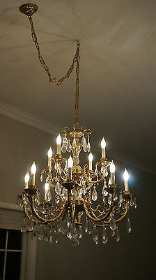 brass chandelier w/ matching sconces