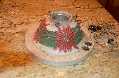 Vintage 1920s Cast Iron Metal Lighted Christmas Holiday Poinsettia Tree Stand