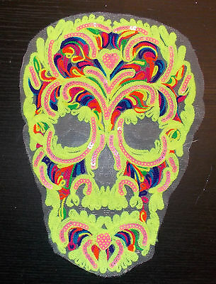 Neon rainbow sequin skull embroidered lace applique motif patch costume