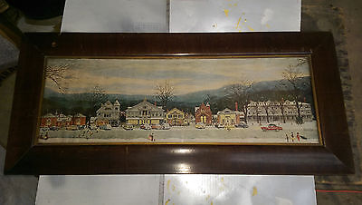 Large  Antique Wood Tiger Maple Picture Frame With  Glass