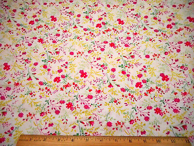 Light Yellow w// Red Touches Leafy Vine Koma Batik Quilting Fabric by Yard  #2577