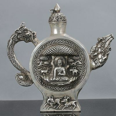 Old Tibet Silver Hand Carved Buddha & Dragon Teapot W Xuande Mark C597
