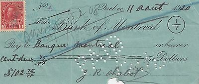 2 ¢ Stamp on Bank of Montreal QUEBEC QC Canada 1920 Cheque