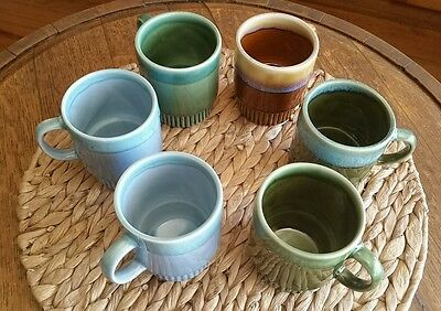 6 Vintage Stackable Drip Glaze Coffee Mugs