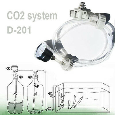 DIY CO2 Generator System Kit D201 Needle Valve Guage For Aquarium Water Planted