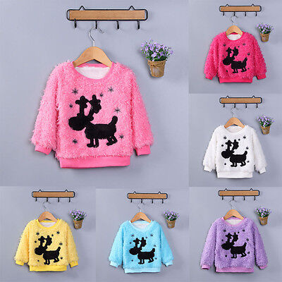 Kids Baby Girls Long Sleeve Fur Thick Warm Tops Pullover Blouse Shirt Sweater UK