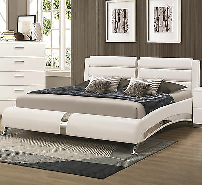 Felicity White Leatherette Queen Size Platform Bed with Metallic Accents