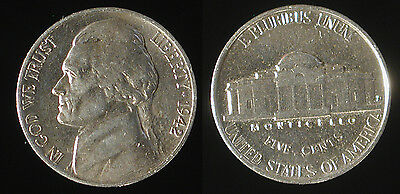 1942-D Jefferson nickel 5 cent piece About Uncirculated