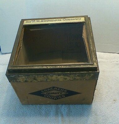 vintage QUALITY Cracker/cookies Box w/ glass display lid WR Montague Company