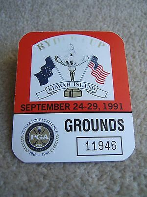 1991 Ryder Cup Grounds badge AS OWNED BY PLAYER STEVE RICHARDSON