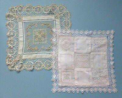 A Vintage Linen & Hand Made Filet Lace Cushion Cover & A Similar Table Centre