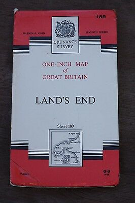 Vintage Ordnance Survey One Inch Map - Land's End  - Sheet 189 - 1961