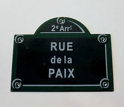 French Enamel Metal Paris Street Sign - Rue De La Paix - Make A Great Prop