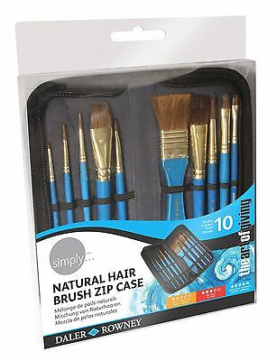 Daler Rowney Simply Natural Hair Brush Zip Case Watercolour Paint Brushes