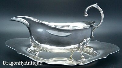 SUPERB Antique Vintage Silver Plated Adie Brothers Gravy Boat Stand Tray Saucer
