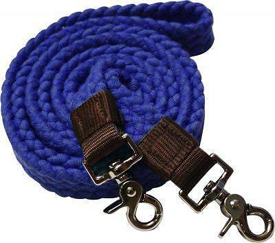 Showman BLUE Flat Cotton Roping Reins with Scissor Snap Ends! New Horse Tack!