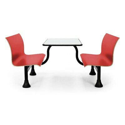 OFM 1006M Retro Stainless Steel Lunchroom Table with Bench in Red