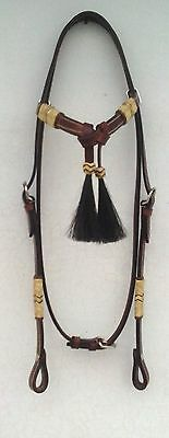Western Leather Headstall Bridle Rawhide Futurity Horse Hair Knotted Browband