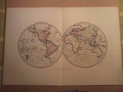 JOHN CARY MAP HEMISPHERES OF THE WORLD 1813 FROM HIS New Elementary Atlas