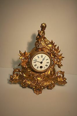 Lovely Small Victorian Figural Mantle Clock - Gilded Metal - Circa 1900