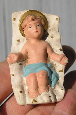 Antique Vintage~Baby Jesus in Manger~Aged Christmas~Nativity Paper Mache