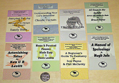 8 Printed Card Toppers 7 x 10cm All Occasions - FUNNY HUMOROUS SPOOF BOOK COVERS