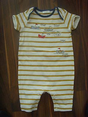 Next Baby Boy Girl Paper Boats  Playsuit 3-6 Months Mustard Striped  Cotton