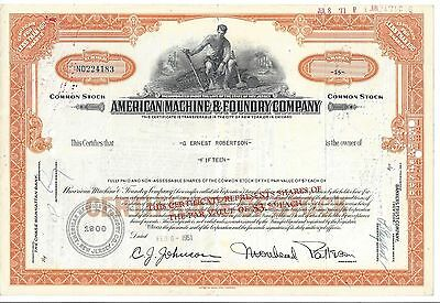 American Machine & Foundry Company(Amf).....1960 Stock Certificate