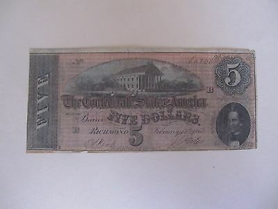 US CSA T-69 1864 $5 Note Kimball House RR reverse...