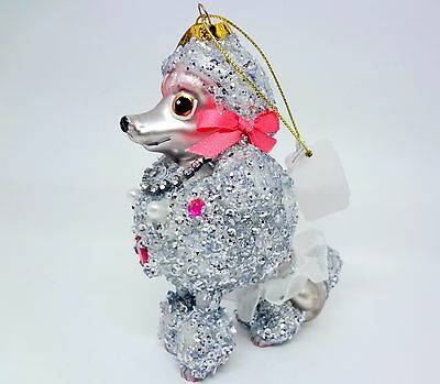 Katherine's Collection Standard Poodle Christmas Ornament Silver Glitter Jewels