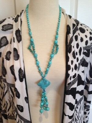 Lovely Turquoise Beaded Lariat Necklace 25""