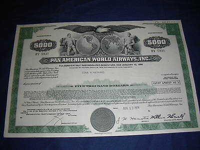 9 different Pan American Airways  small size bonds and share certificates