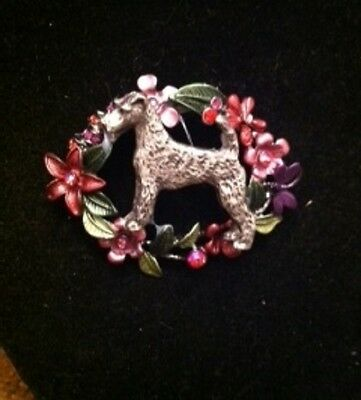Airedale Terrier Dog  Enamel Flower BROOCH~Pin~dog jewelry~Airdale
