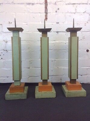 Trio Of Antique Candlestick Art Deco Wooden Candelabra Made In Poland