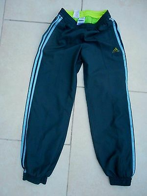 Adidas Clima Girls Woven Training Track Pant Charcoal/blue Satin Stripe 11/12 Y