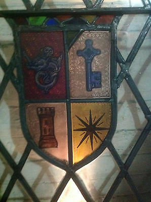 STAINED GLASS HANDPAINTED TUDOR-style WINDOW