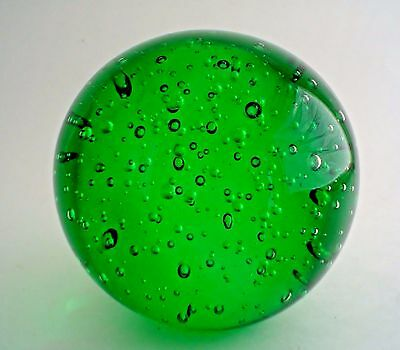 Stunning Green Paperweight Round with Controlled Bubbles Pristine