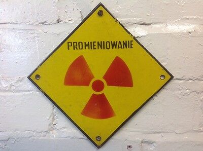 Vintage Enamel Sign 'Radioactive' Made In Poland Antique Industrial Plaque