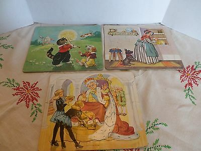 Three Vintage Cardboard Tray Puzzles Mother Goose Fairy Tales