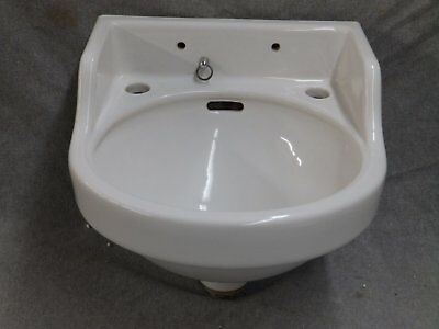 Small Vintage White Porcelain Ceramic Wall Mount Bathroom Sink Old 2157-16