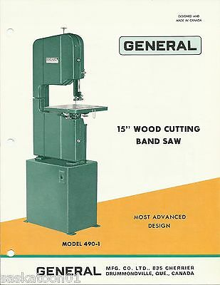 """Authentic Original General Woodworking Machinery 490 15"""" Band Saw Brochure 1971"""