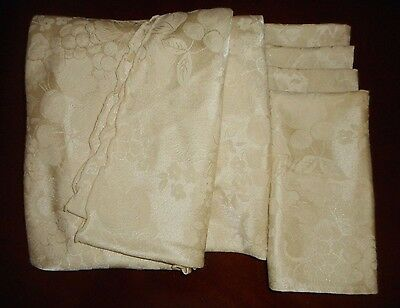 """Cream Ivory Color Damask 70"""" Round Tablecloth w 4 Napkins"""