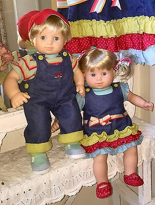 Retired Bitty Baby Doll Twins Blonde Blue American Girl Complete Play Date Sets