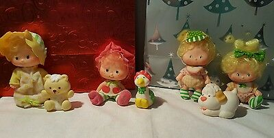 Lot of 4 Baby Strawberry Shortcake Dolls  & Friends Pets Kenner