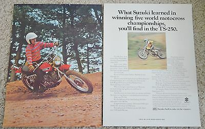 1973 Suzuki TS 250  Motorcycle Original Color Ad Red