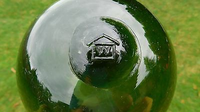 """Wonderful Genuine Vintage Glass Float W/  """"house""""  Mark On Seal Button"""